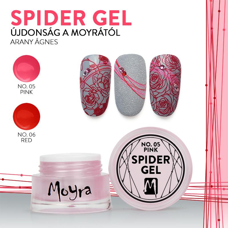 Újdonságok érkeztek! Moyra Spider zselé No. 05 Pink, No. 06 Red
